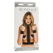 Фиксирующий бондаж на шею, талию и запястья Bondage Tie (черный с серебряным)