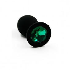 Маленькая черная пробка с зеленым кристаллом ONJOY Silicone Collection