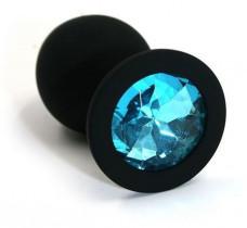 Маленькая черная пробка с голубым кристаллом ONJOY Silicone Collection